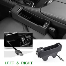 Microfiber Leather Car Seat Gap Organizer ocket Storage Box Left + Right Black