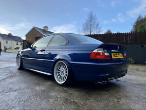Topaz Blue 2002 Bmw e46 330ci M Sport Coupe Manual with Staggered Style 32s