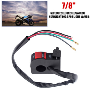 12V Motorcycle 22MM Handlebar ON OFF Head Fog Light Control Switch w/USB Charger