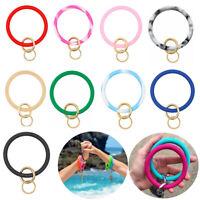 Silicone Key Chain Bracelet Keychain Key Ring Hoop Keyring Bangle Jewelry UK AN