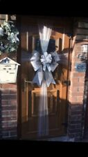 Christmas Door Bow Glitter All  Silver Detail  Sash Decoration Xmas Event