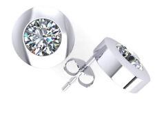 Original 1.00ctw Brillante Redondo Diamond Pendientes Platino Engastados G Si1