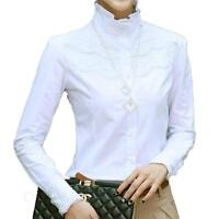 Womens Fashion Smart blouse Lace shirt ladies Victorian Top PLUS Size NEW VANCY