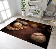 Old Vintage Baseball Glove Background Area Rugs Bedroom Living Room Floor Mat