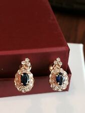 18k Yellow Gold Sapphire and Diamond Earrings Handmade in Qatar F/VS