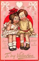 Katharine Gassaway Valentine~Boy & Girl in Heart~Faithful Constant~Red Pink TUCK