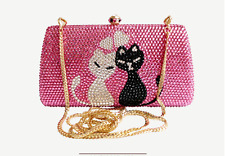 luxury handmade lovely cat crystal diamond evening wedding bridal handbag