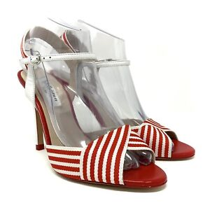 LK Bennett Colette White Red Striped Fabric Leather Peep Toe Heels Size 38 US 7