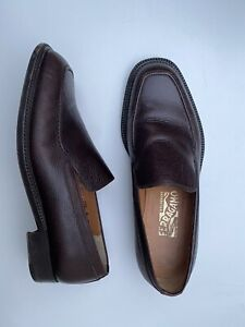 Salvatore Ferragamo Loafer Slip On Leather Shoes Brown UK 8 EUR 42 EE