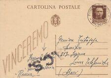 25.4.45 LUOGOTENENZA intero postale da PONTE GALERIA x BARI + CENSURA