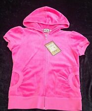 NWT Juicy Couture New Genuine Ladies Small UK 8/10  Deep Pink S/S Velour Hoodie