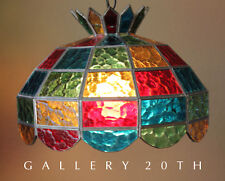 MOD! STAINED GLASS MULTI-COLOR CHANDELIER HANGING LAMP! Mid Century Modern Vtg