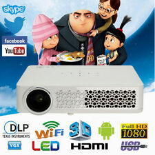 Real 3D Mini Full HD 1080P Android Home Theater Projector HDMI RJ45 VGA USB