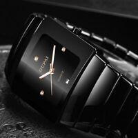 Black Ceramic Rectangle Men Wrist Watch Calendar Tonneau Luminous Luxury Dial