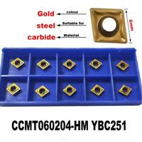 10 Pcs CCMT0602 Carbide Inserts CCMT060204-HM YBC251 For CNC Lathe Turning Tools