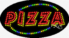 """NEW """"PIZZA"""" 27x15 OVAL SOLID/ANIMATED LED SIGN w/CUSTOM OPTIONS 24468"""