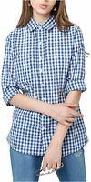 HAOYIHUI Women's Casual Plaid Botton-Down Long Sleeve, Blue, Size Medium Vgaq