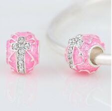 4 Beads Pink Authentic Silver & CZ Murano  Charms Fit European Chain Big Hole