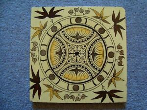 attractive symmetrical design antique 6 inch tile Arts & Crafts style  21/40