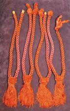 2 Pair of Vintage Silky Thread Tassels Braided Drapery Tie Backs - Orange Color