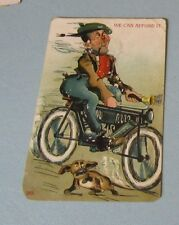 1907 Man on Early Bicycle With Dog We Can Afford It Color Otis Kansas Postcard