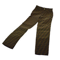 FENDI Vintage Zucca Pattern Long Pants Brown Black Authentic AK31314h