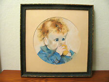 Vintage Chalkware Pastel Painting Baby Curly Blonde Blue Eyed Fruit? Adorable