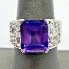 Sterling Silver 925 Emerald Cut Amethyst Marquise CZ Cluster Wide Cocktail Ring
