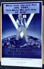 Vintage 1940s WWII Poster Salesman Sample Sent to Banks Buy War Bonds- Uncle Sam