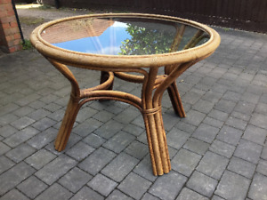 Large Vintage Mid Century Bamboo Cane Dining Table