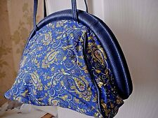 NEW Navy Pattern Clasp Frame PURSE Style Shoulder MESSENGER Across the Body BAG