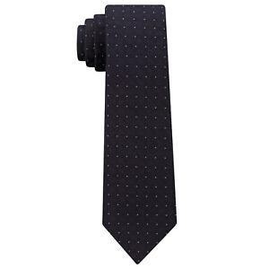 CALVIN KLEIN Black Pindot Discrete Reflective Logo Silk Blend Skinny Tie