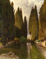 Oil painting landscape Green cypress trees along the canal canvas handpainted
