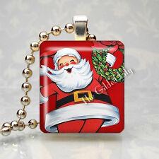 Santa Claus Vintage Retro 1950 S Christmas Scrabble Tile Pendant Jewelry Charm