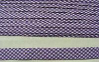 Gingham Bias Binding Purple - 25mm wide 10 mts