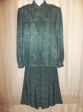 Vtg. COUNTRY SUBURBANS Forrest Green Suit SKIRT DRESS Church Women's Size 10