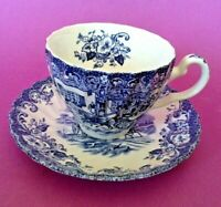Johnson Brothers Coaching Scenes Cup And Saucer - Blue Transferware - England