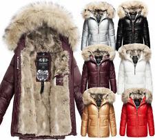 Navahoo Damen Winter Jacke Steppjacke Kunst-Pelz Kapuze Kunstfell TIKUNAA Parka