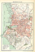 Historische, alte Stadtkarte 1898: Marseille. Stadtplan farbig Frankreich (B14)