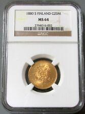 1880 S GOLD FINLAND 20 MARKKAA NGC MINT STATE 64 KEY DATE