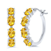 3.20 Ct Oval Yellow Citrine 925 Sterling Silver Earrings