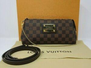 Authentic Louis Vuitton Eva Damier Ebene Pochette w/ Clutch Chain & Crossbody