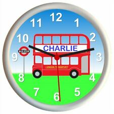 Personalised RED LONDON BUS Childrens Bedroom Wall Clock