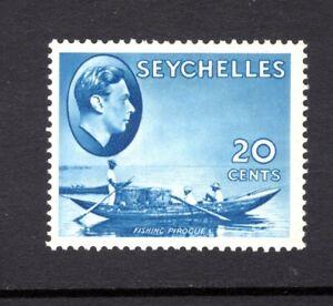 SEYCHELLES KGV1 1938 sg140  20c BLUE MOUNTED MINT + HINGE REMAIN CAT £45