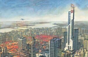 Original Avengers Tower New York Skyline Spiderman Cityscape Comic Art Painting