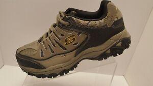 Skechers After Burn Memory Wide Fit Athletic Sneakers Brown Leather Mens Sz 8.5