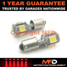 2X XENON RED BA9S T4W 233 SIDELIGHT UPGRADE 5 SMD LED BULBS CANBUS