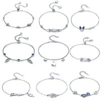 925 Sterling Silver Bracelet Adjustable European Charm Bangle Chain For Women