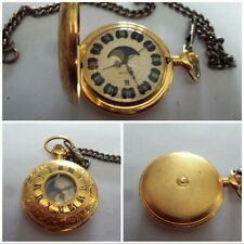 Roman Numeral Moon Pocket Watch Retro Modern Victorian Style Majestron Gold Tone
