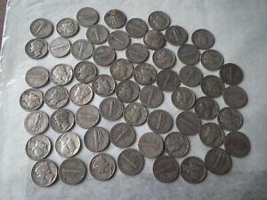 USA silver dimes - 60 coins - 1940 - 2 - mixed condition - collectable